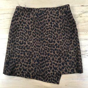 Ann Taylor leopard mini asymmetrical skirt